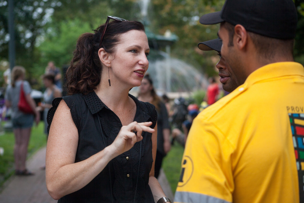 Jennifer Smith, Program Manager for the DPPC, coordinates with the DID during the Burnside Music Series