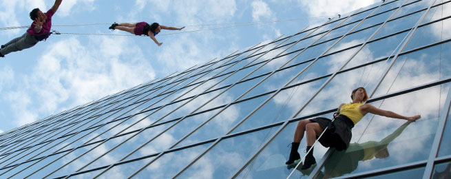 Bandaloop performs above Kennedy Plaza, 2012